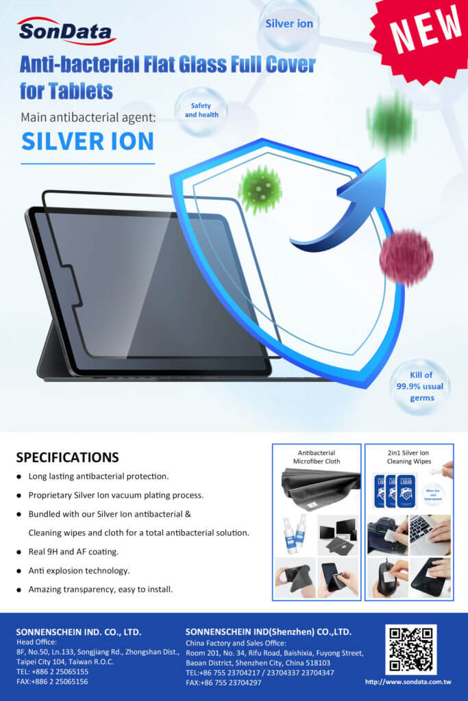 Antibacterial Flat Glass Full Cover for Tablets